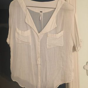 Free People white pocket top